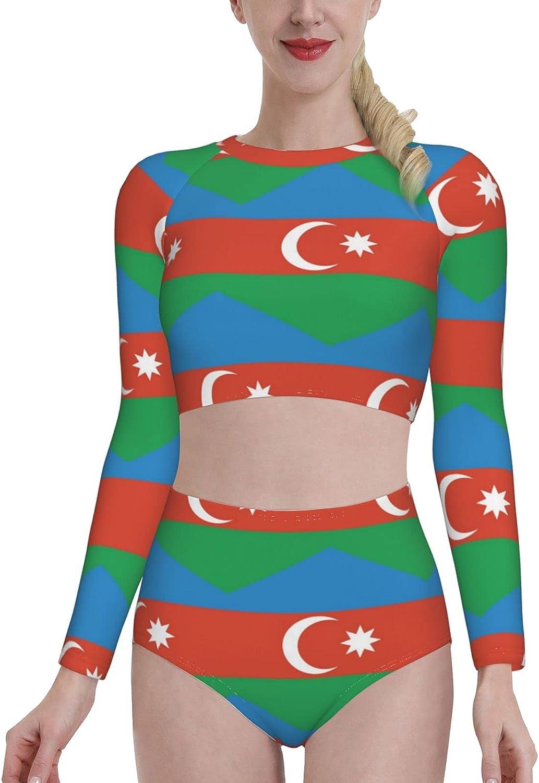 Retail Sign Systems Azerbaijan Flag Womens Two Piece Swimsuit Long Sleeve Rash Guard Swimwear
