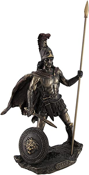Veronese Design Bronzed Mars Roman God Of War Statue With Colored Accents