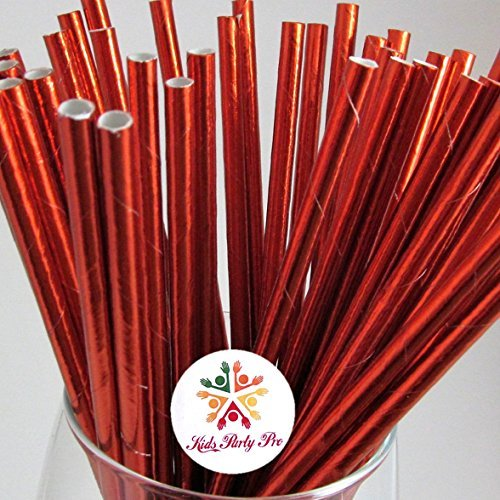 100 pcs Metallic Plain Red Foil Paper Straws, Retro Shiny All Pure Solid Color Party Vintage Beverage Paper Drinking Straws,Graduation Wedding Holiday Birthday Christmas Valentines Cake Pop Sticks