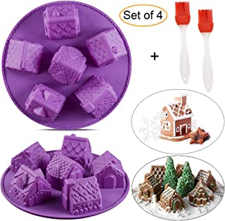 2 Pcs 3D Christmas Gingerbread House Bundt Cake Pan, 6 Cavity Cozy Village Christmas House Silicone Muffin Baking Mold Chocolate Jello Pudding Soap Candle Mold (Random Color)