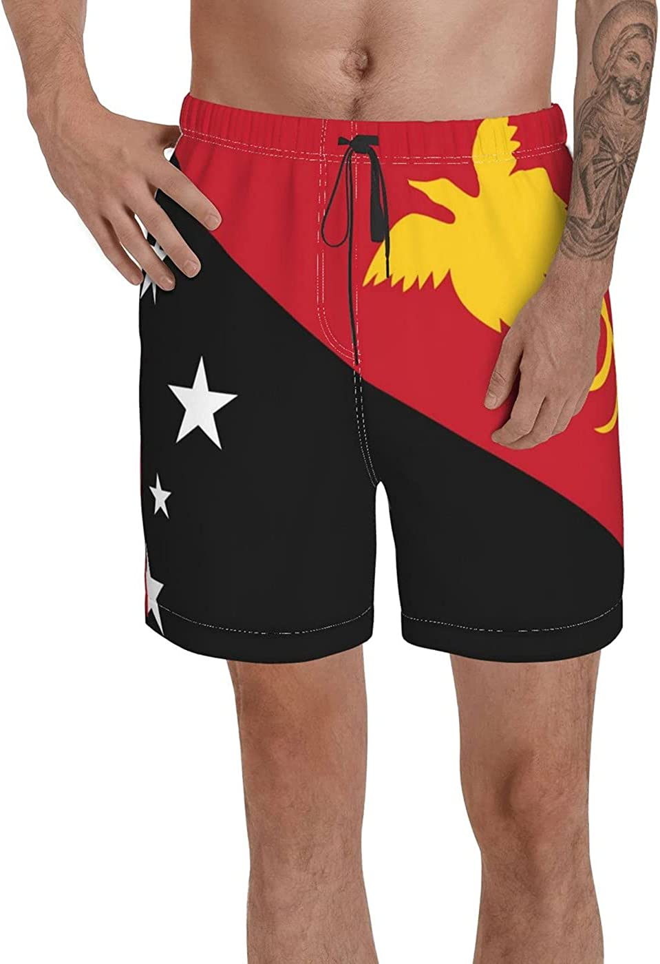 Count Papua New Guinea Flag Men's 3D Printed Funny Summer Quick Dry Swim Short Board Shorts with