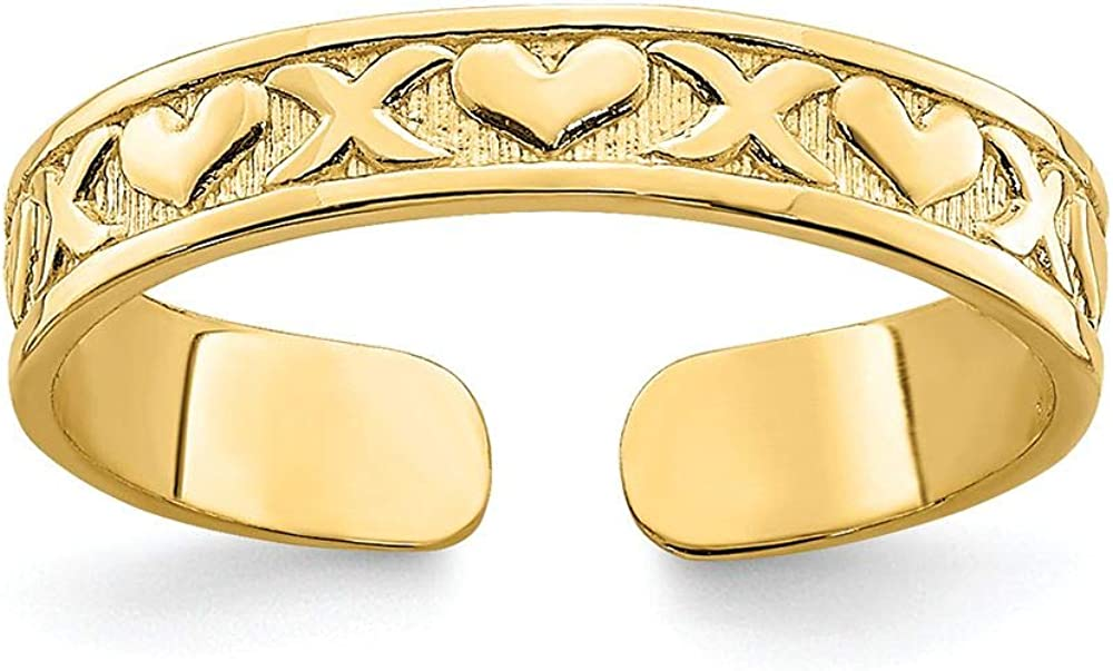 Finejewelers 14k Yellow Gold Adjustable Toe Ring with Small X Heart