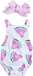 Phoebe bee Newborn Baby Girls Watermelon Fruit Bodysuit Romper Backless Jumpsuit Outfits with Headband Clothes Sunsuit