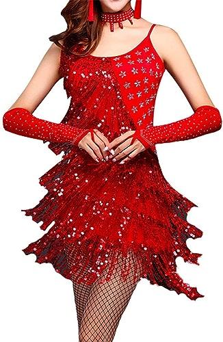 Femmes Sans Manches Sequin Gland Robe De Danse Latine Outfit Perlée Frange Flapper Robe De Cocktail Lady Salle De Bal Parti Scène De Perforhommece Costumes Dancewear Tenue de femme pour adultes