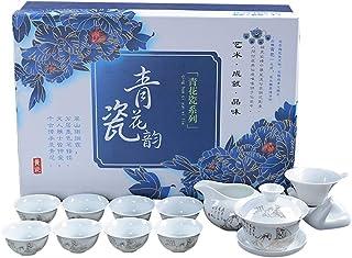 中国茶道具 中国式 茶器セット 茶芸 陶器 カンフー茶 茶具セット 工夫茶器セット 染付磁器 染付け茶碗 湯呑 急須 高級感 贈り物 お礼 絵柄 chasheng