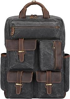 S-ZONE Herren Rucksack Upgrade Waxed Canvas Echtes Leder Trim Handgefertigte Laptoptasche Weekender Tasche Daypack Große Reisetasche Sporttasche mit Mehreren Taschen