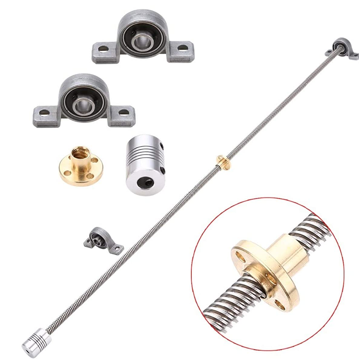 JIAIIO 1pc 600mm T8 Lead Screw Rod + 1pc Shaft Coupling + 2pcs Mounted Ball Bearing with Screw Nut For 3D Printer