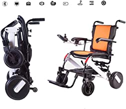 YOLANDEK Lightweight Folding Electric Wheelchair - Ultra Portable Foldable Power Motorized Scooter Chair - - Weighs only 45 lbs with Battery - Supports 250 lb