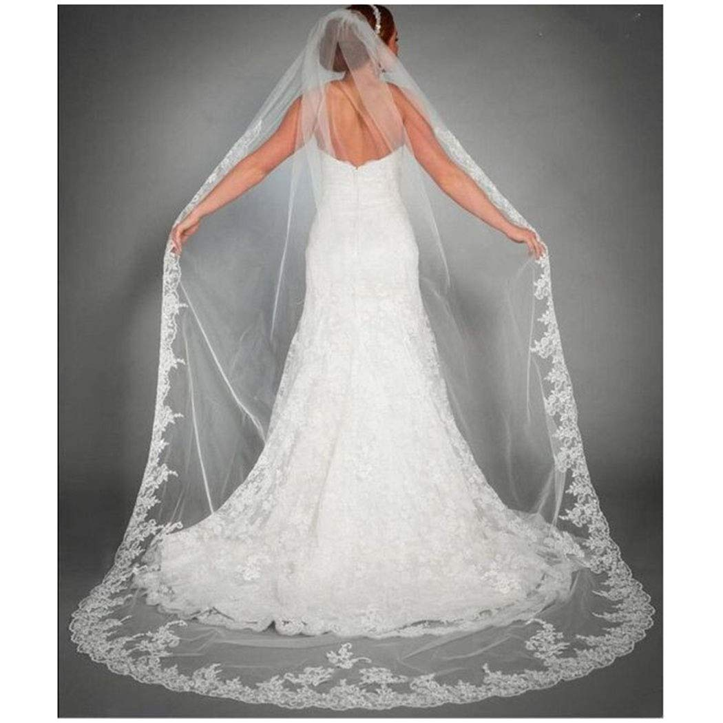 Brinote Lace Wedding Veils for Brides with Comb 1 Tier Long Cathedral Appliqued Bridal Veils Flower Church Soft Tulle Veils (White)