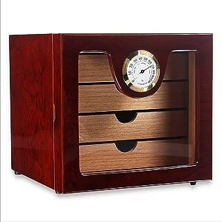 Cigar Humidor Cedar Wooden Cigar Humidor Cabinet 4 Layer Cigar Box Organiser for Approx.50 Cigars, Tempered Glass, Rosewood Grain
