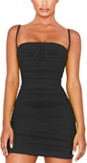 Velius Women's Sexy Scoop Neck See Through Mesh Ruched Bodycon Dress Clubwear