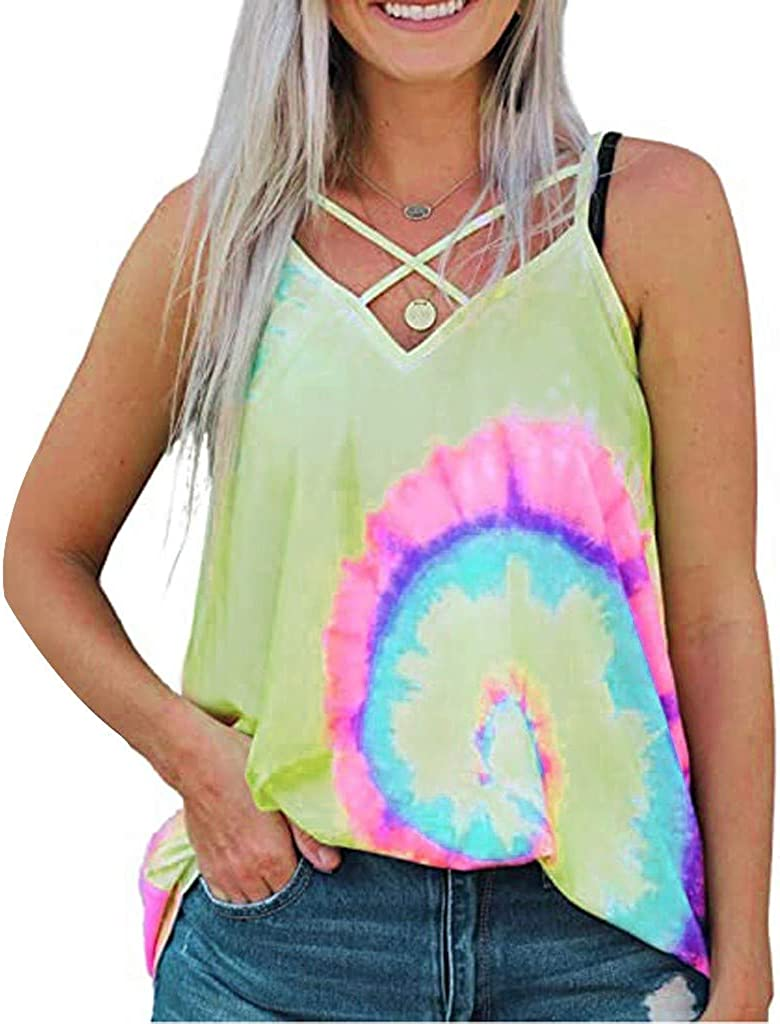 Women's Tie-Dyed Sleeveless Criss-Cross Workout Tank Tops Loose Fit Social Yoga Athletic Backless T Shirts