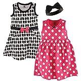 Hudson Baby Girls' Cotton Dress and Headband Set, Bow, 12-18 Months
