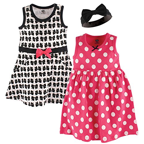 Hudson Baby Baby Girl Cotton Dress and Headband Set, Bow, 18-24 Months