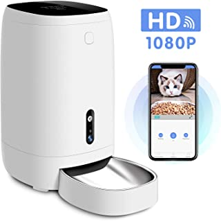 Uterip Smart Automatic Pet Feeder, 4L Pet Food Dispenser Auto Feeder for Dogs, Cats & Small Animals, HD Camera for Video and Audio Communication, Wi-Fi Enabled App for iOS and Android