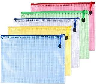 iEay Sac zippé Grille/Gridding Zip Bag - Sac de rangement grande capacité - Sac de papeterie A3/A4/B4/A5/B5/A6 (5 pièces A4)