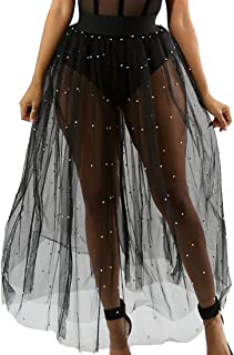 KLJR-Women Faux Pearl Splice See-Through Sheer Mesh Tulle Skirt