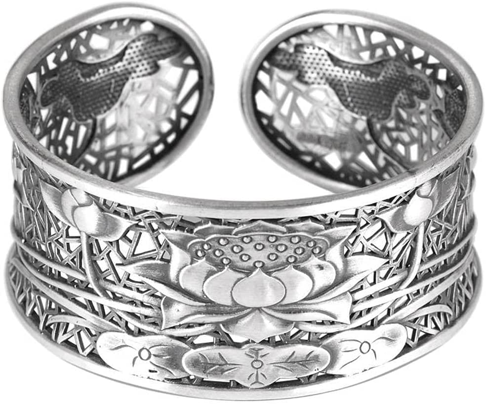 WOZUIMEI Topics on TV Chinese Style Vintage Bangle Max 65% OFF S999 Bangl Sterling Silver