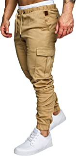 YUNY Men Drawstring Zip-up Pockets Collection Outdoor Cargo Pants Khaki S
