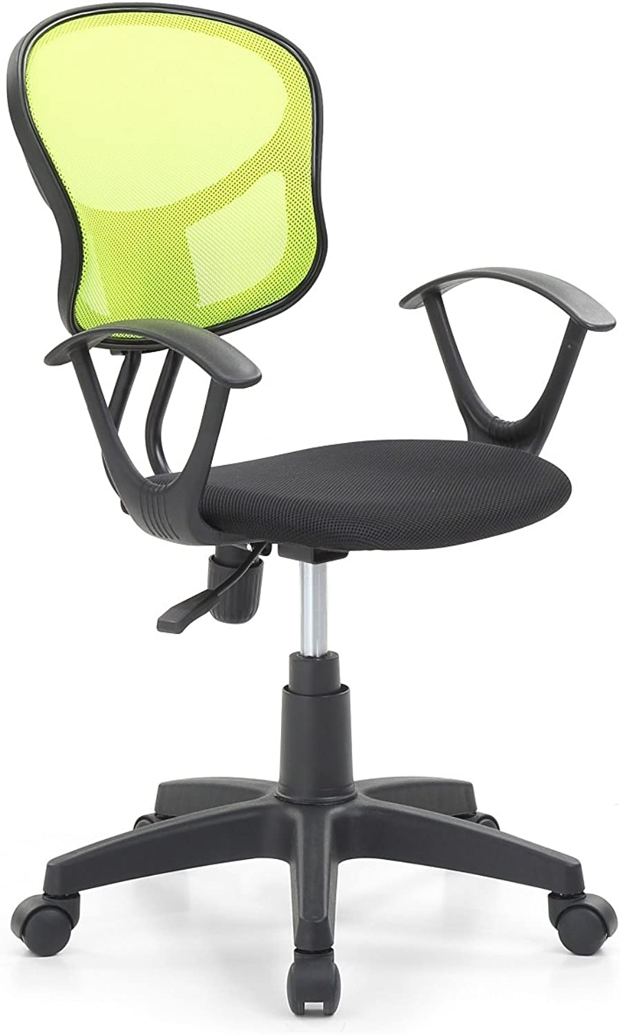 Hodedah Mesh Office Chair with Arms, Adjustable Height, and Swivel Functionality, Green