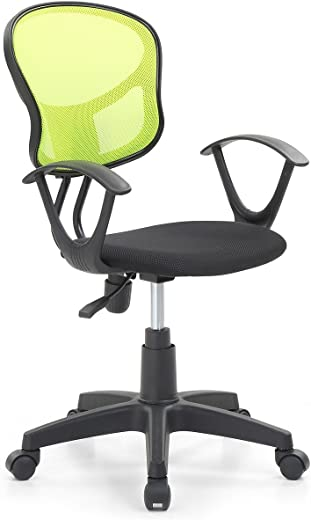 B06VYFWS64✅Hodedah Mesh Office Chair with Arms, Adjustable Height, and Swivel Functionality, Green