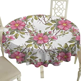 Round Tablecloth Flower,Watercolor Dog Rose Garden Pattern with Leaves and Buds Image,Light Pink White and Lime Green D70,for Umbrella Table