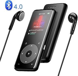 مشغل MP3 من AGPTEK بلوتوث 4.0 مع مكبر صوت مدمج وسماعة رأس محمولة 8 جيجابايت مشغل موسيقى A16T يدعم الملمس المعدني حتى 128 ج...