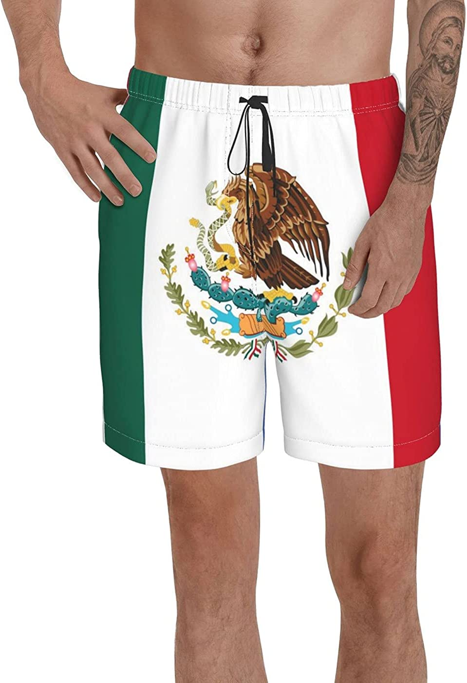Count Mexico Flag Men's 3D Printed Funny Summer Quick Dry Swim Short Board Shorts with
