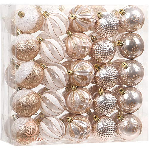 Sea Team 50-Pack Christmas Ball Ornaments with Strings, 60mm/2.36-Inch Medium Size Baubles, Shatterproof Plastic Christmas Bulbs, Hanging Decorations for Xmas Tree, Holiday, Wedding, Party, Rose Gold