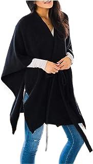 معطف صوف نسائي من SportsXX مع حزام، مزيج من الصوف المريح، كبير الحجم، مناسب للخريف والشتاء