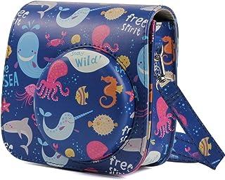 Bolsa de cuero de la cámara Caso del modelo de CCI Océano Mundial de cuerpo completo de la cámara de la PU Bolsa de cuero con correa for el mini instax FUJIFILM 9 / mini-8 + / mini-8 bolsa de cuero de