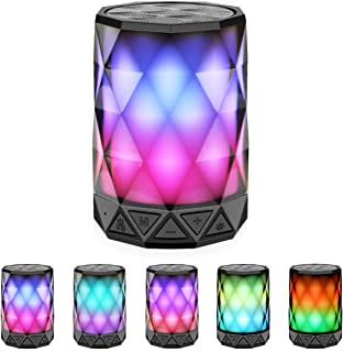 LED Portable Bluetooth Speakers with Lights, LFS Night Light IPX5 Waterproof Speakers, Color Change Diamond Shape Computer Speaker, Built-in Mic,TF Card and TWS, for iPhone Samsung Gaming Christmas