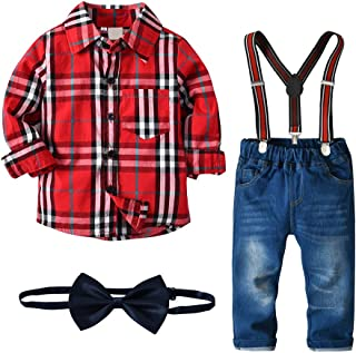 Christmas Boys Clothes Sets Bow Ties Shirts + Suspenders Pants Denim Jeans Toddler Boy Gentleman Outfits Suits
