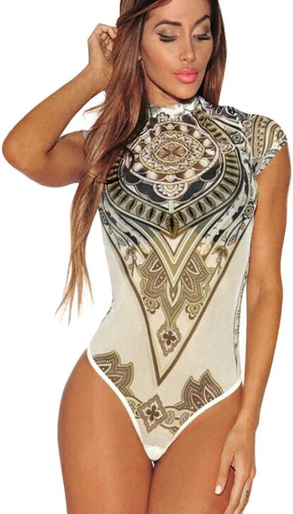 Euone Women Summer Sexy Print Voile Perspective Bodysuit Jumpsuit Leotard Club Wear (S, White)
