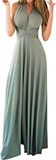 Women Sexy Boho Bandage Long Maxi Dress Convertible Wrap Halter Cocktail Dress Multi Way Bridesmaid Dress