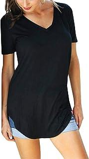 Yidarton Damen Sommer T-Shirt Basic Kurzarm Tops V-Ausschnitt Rundhals Lockere Oberteile Solide Casual Shirts