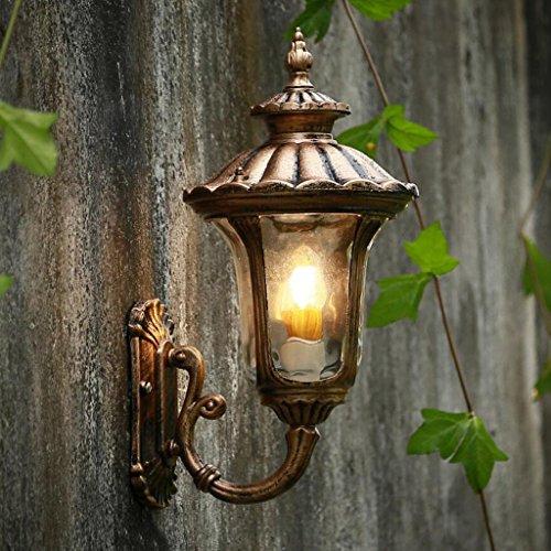 Vintage Minimaliste Extérieure Étanche Cour Bronze Mur Lampe Villa Balcon Couloir Aquarelles Verre Mur Lampe E27 ( taille : 28*49cm )