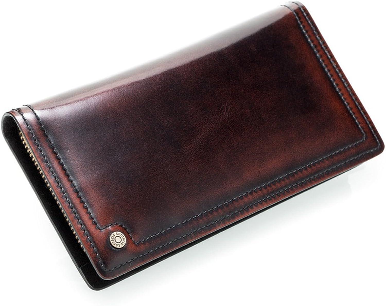 Yiwuhu Ledergeldbörse Herrenbrieftasche Leder Lange Handtasche Retro Zipper braun Geldbeutel Männer mit Geldklammer B07K6HTZM7