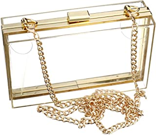 Fearls Woman Cute Transparent Acrylic Shoulder Bag Clear Crossbody Evening Clutch Purse Handbag With 2 Gold Chain For Women
