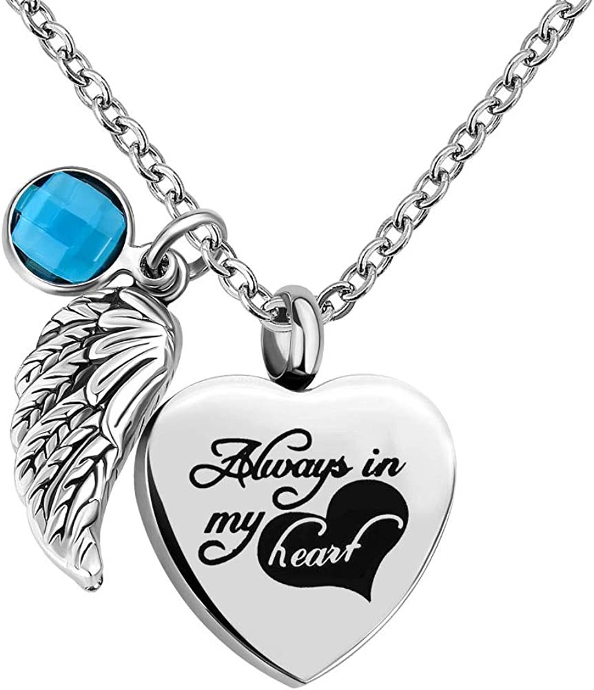 Q&Locket Urn Necklaces for Ashes Angel Wings Memorial Always in My Heart Cremation Keepsake Jewelry