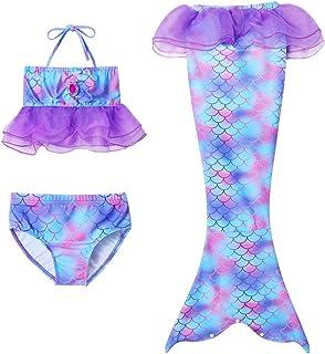Yimidear Coda de Sirena para niña, Disfraz de sirena para niña, 3 piezas, juego de bikini de sirena para niña