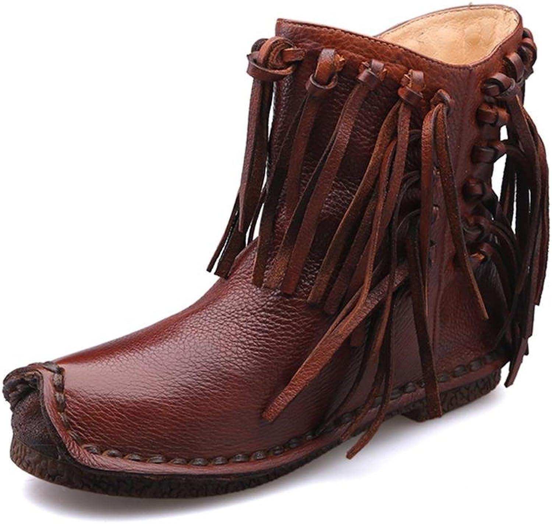L@YC Frauen Stiefel PU Herbst und Winter Retro Stiefel Leder Leder Outdoor Büro & Professional Freizeit