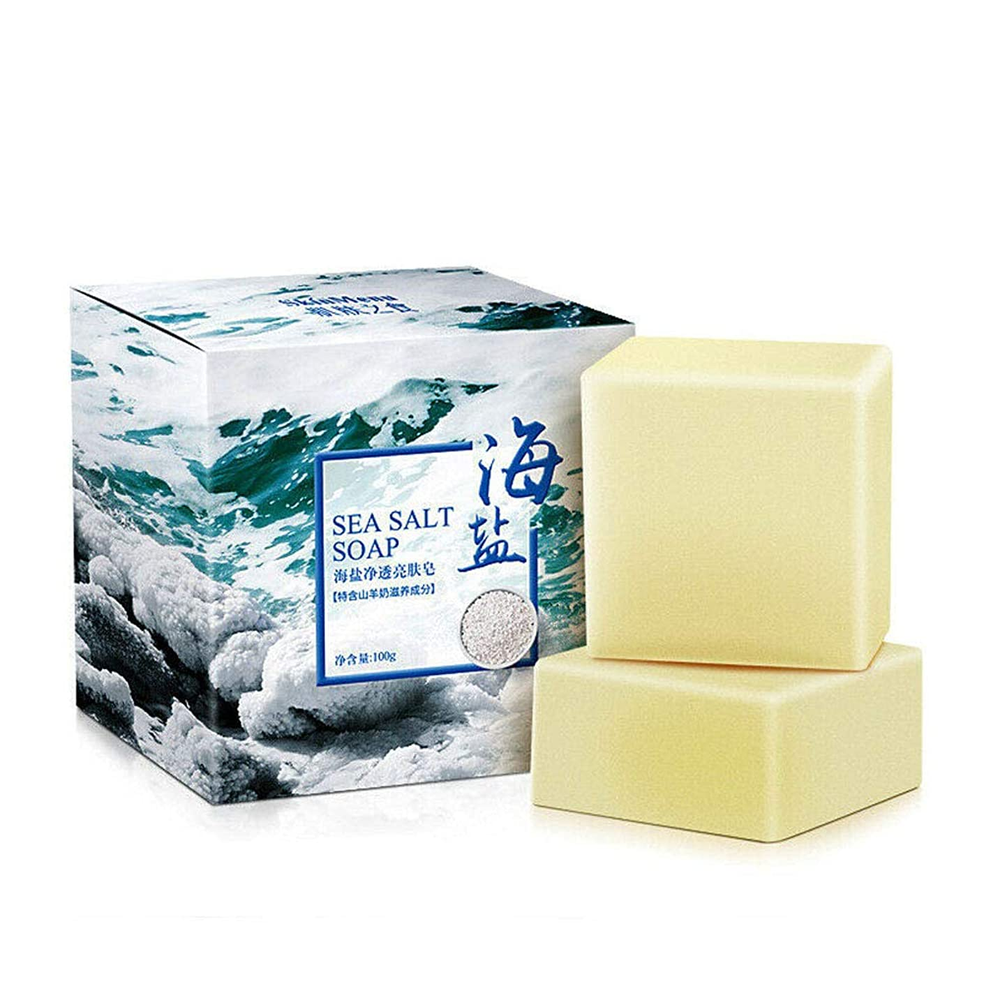 煙盲目ワームせっけん 石鹸 海塩 山羊乳 洗顔 ボディ用 浴用せっけん しっとり肌 植物性 無添加 白い 100g×1個入 (#2)