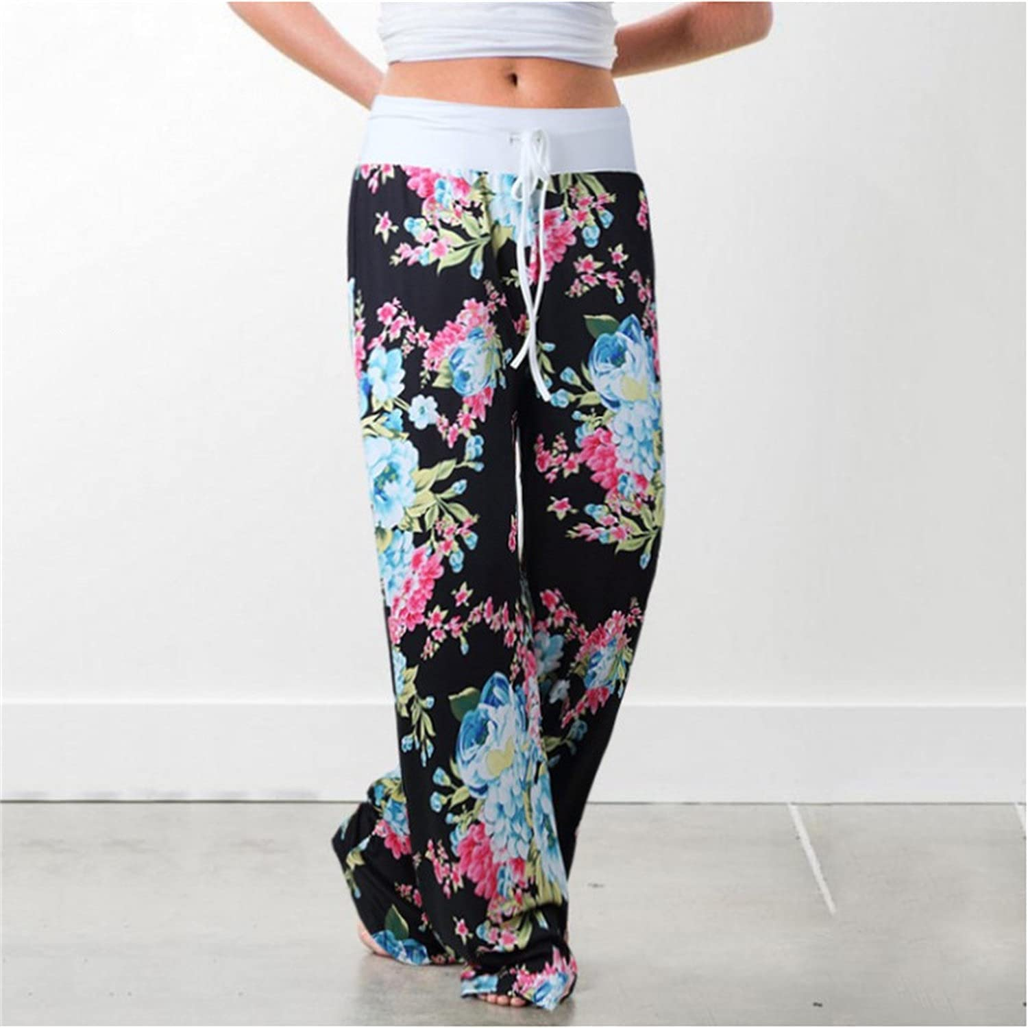 Women's Printed Wide-Leg Pants Comfy Stretch Floral Print Drawstring Lounge Trousers Casual Stretchy Casualpants (3X-Large,Black 3)
