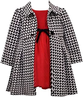 Bonnie Jean Girl's Holiday Christmas Dress and Coat Set for Baby, Toddler and Little Girls