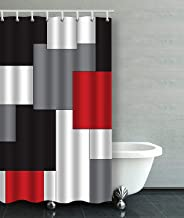 IrYuee Custom Wavy Vertical Stripes Red Black White and Grey Shower Curtain 36x72 inches