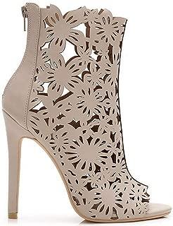 Dalia-01 Floral Laser Cut Stiletto Heel Peep Toe Ankle Booties