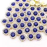 Diamantes de imitación de garra de colores mezclados con flores de sol con parte trasera plana para coser piedras de cristales brillantes, base dorada, para ropa, zafiro, 10 mm, 20 unidades