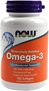 Now Foods Omega-3, 180 EPA/120 DHA, Molecularly Distilled, Softgels, 100ct