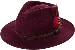 Winter Womens Homburg Gangster Hat Wool Feather Trilby Fedora 1920s Derby Manhattan Mafia Godfather Wine M